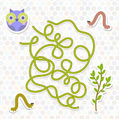 owl bird labyrinth game for Preschool Children. Vector