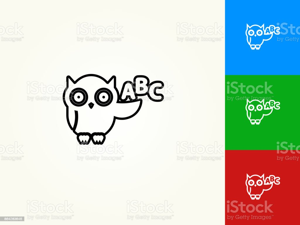 ABC Owl Black Stroke Linear Icon royalty-free abc owl black stroke linear icon stock vector art & more images of alphabet
