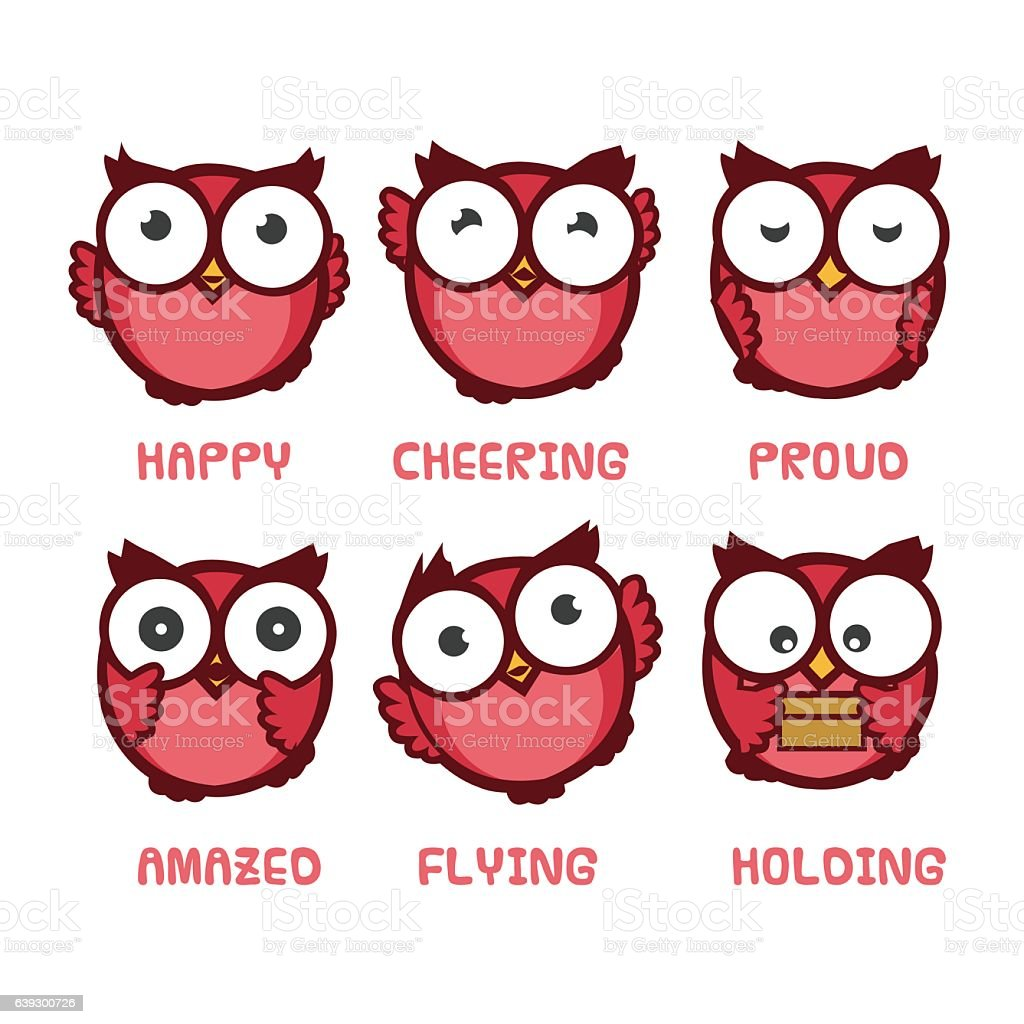 owl cartoon character with different expressions stock vector art