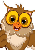 owl cartoon posing with stick