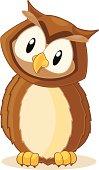 Fully editable vector illustration of a cartoon owl.