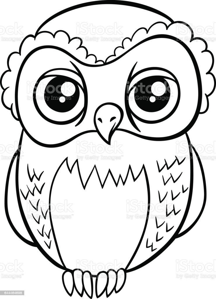 Baykus Karakter Boyama Sayfasi Stok Vektor Sanati Animasyon