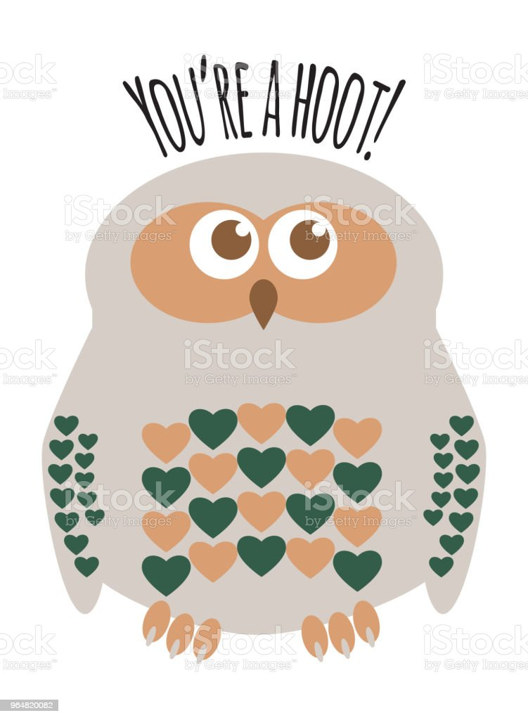Owl character greeting card with text  'You're a Hoot'. Editable labelled layers. royalty-free owl character greeting card with text youre a hoot editable labelled layers stock vector art & more images of affectionate