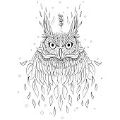 Owl character portrait. Coloring book. Vector illustration isola