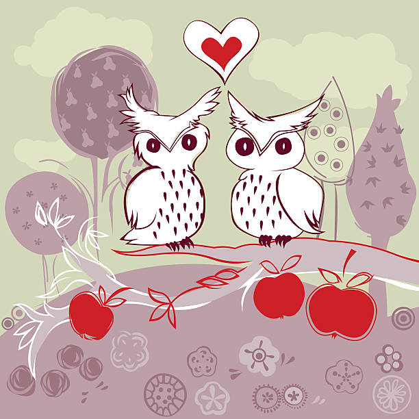 owl couple on apple tree vector art illustration