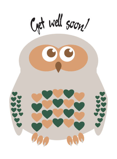 "owl cute character with hearts for feathers greeting card with text  ""get well soon!"". editable labelled layers. - get well soon stock illustrations, clip art, cartoons, & icons"