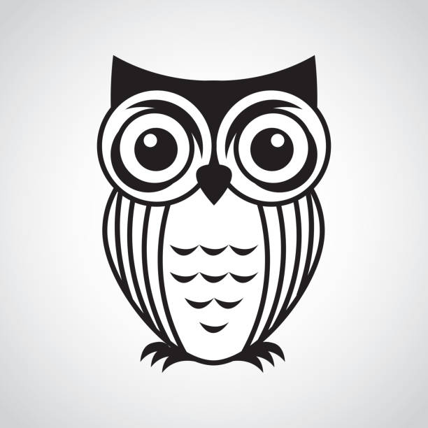 owl design - black and white owl stock illustrations, clip art, cartoons, & icons