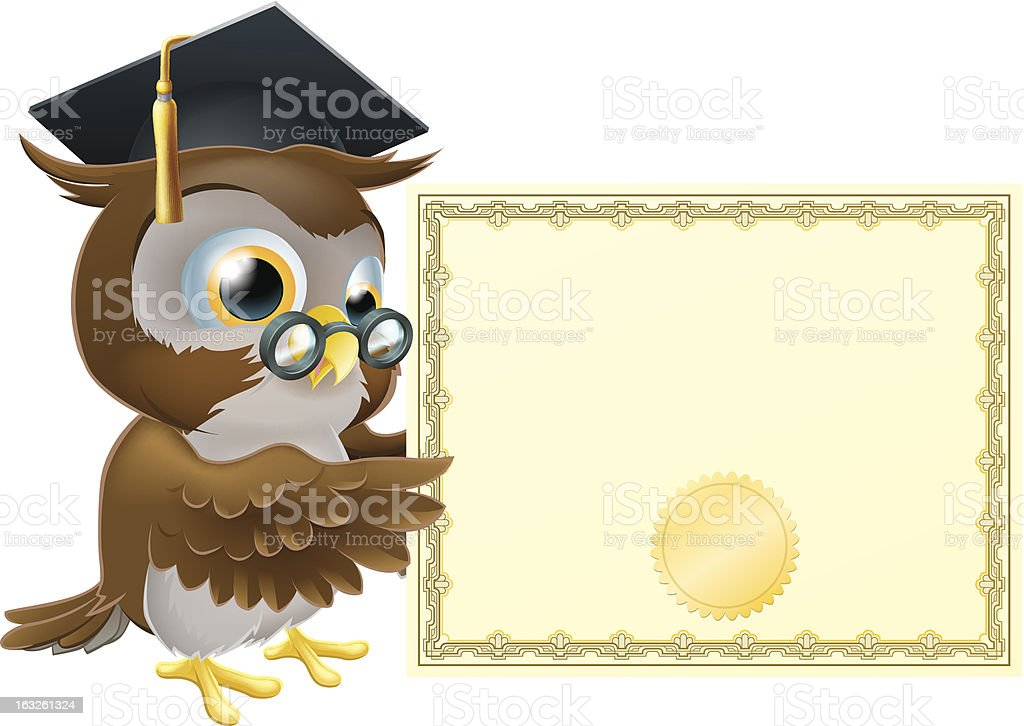 Owl diploma certificate background royalty-free stock vector art