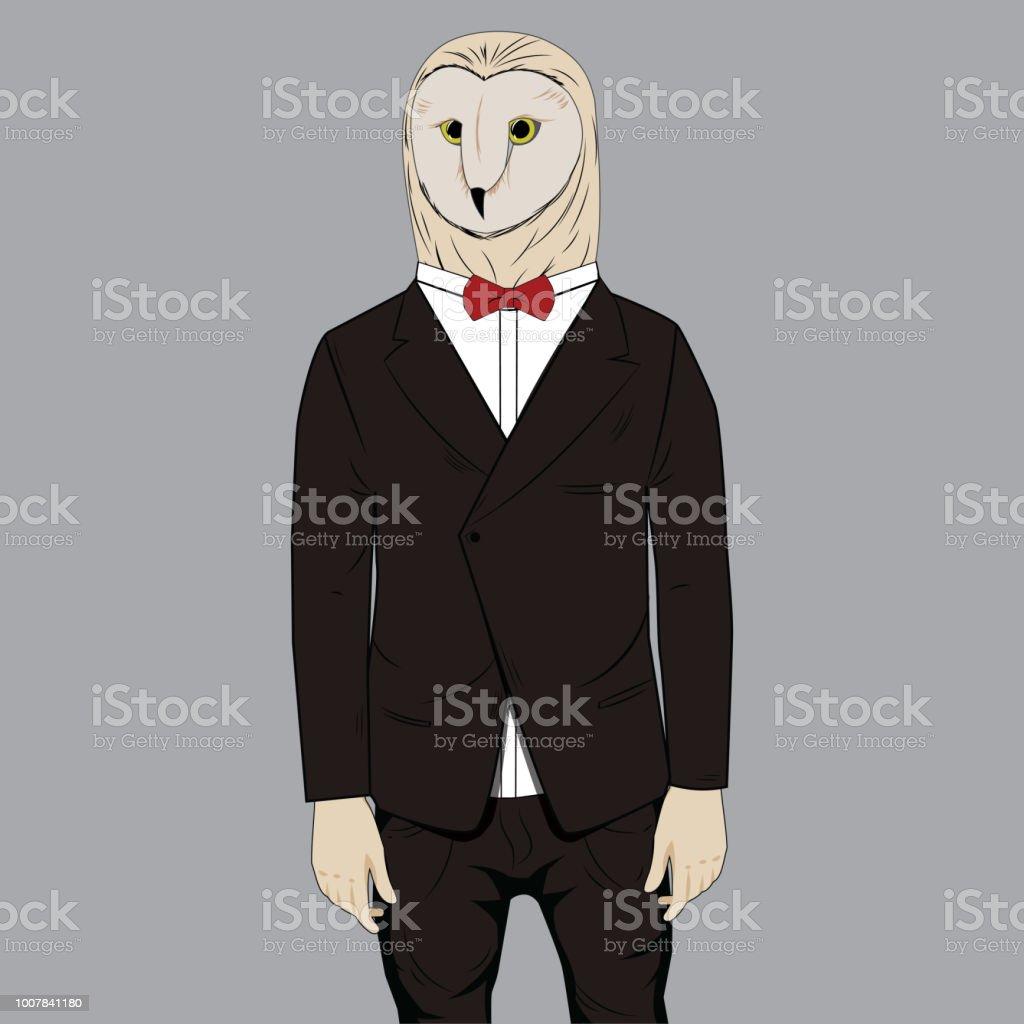 フクロウはタキシード着たファッション動物擬人化イラスト