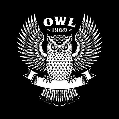 Owl Emblem On Black Background