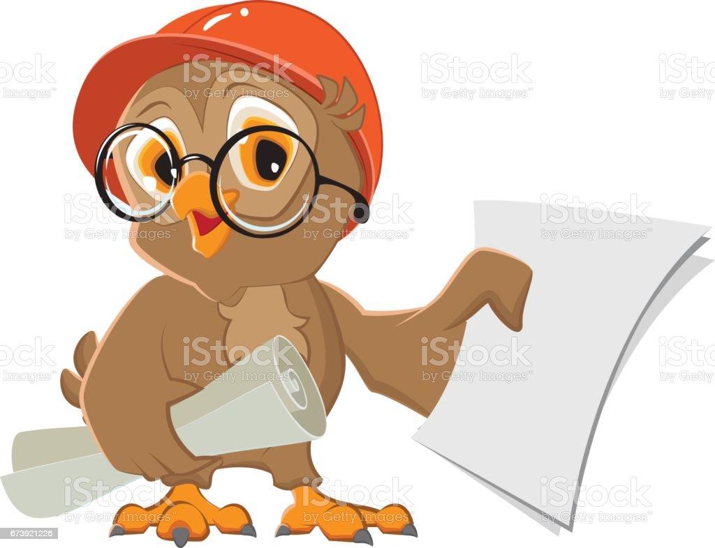 Owl engineer builder in helmet with drawings paper owl engineer builder in helmet with drawings paper – cliparts vectoriels et plus d'images de affaires finance et industrie libre de droits
