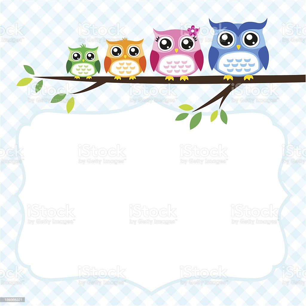 owl family spring illustration royalty-free stock vector art