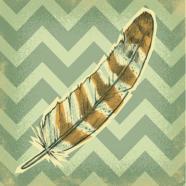 owl feather in a chevron sky - great horned owl stock illustrations, clip art, cartoons, & icons