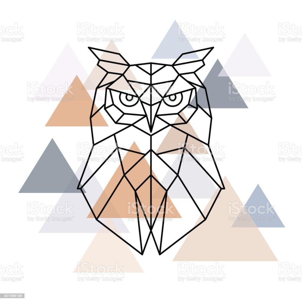 Altura geométrica de buho. Estilo escandinavo. Ilustración de vector. - ilustración de arte vectorial