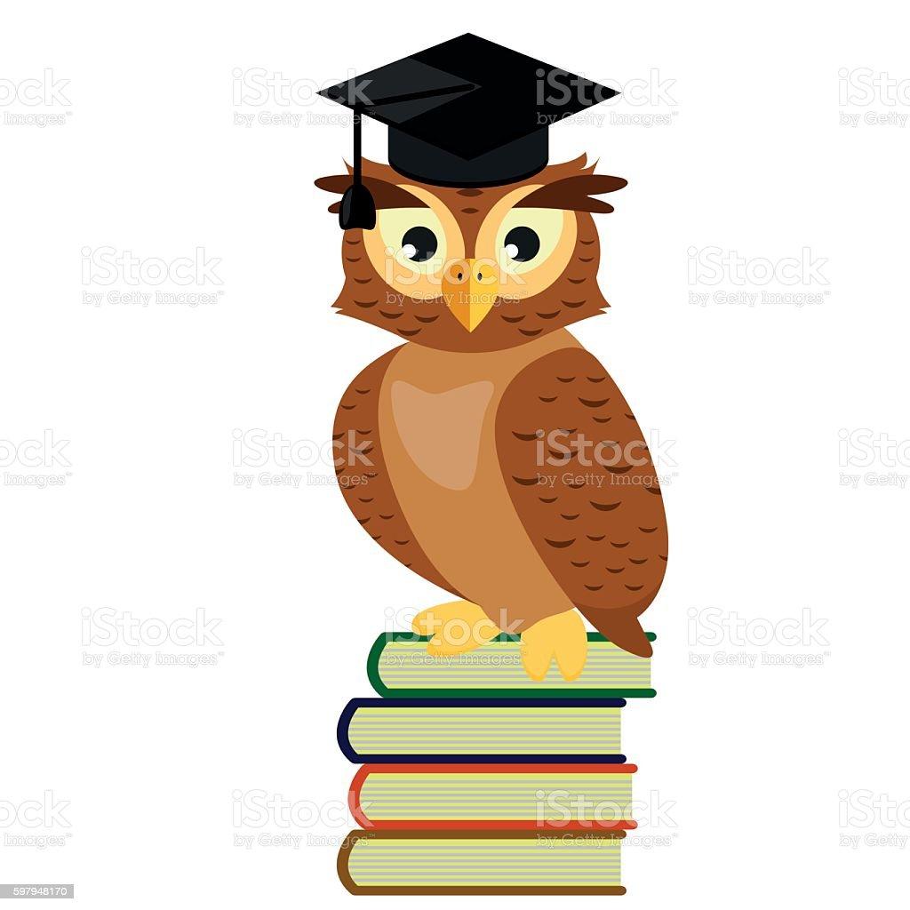 royalty free cartoon of owl with graduation cap clip art vector rh istockphoto com
