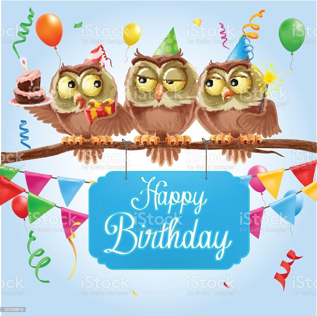 Owl Happy Birthday Stock Illustration - Download Image Now ...