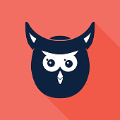 Owl Head Icon Navy and Coral Background