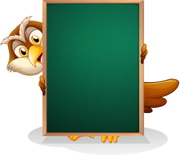 Royalty Free Owl Holding Sign Frame Clip Art Vector Images
