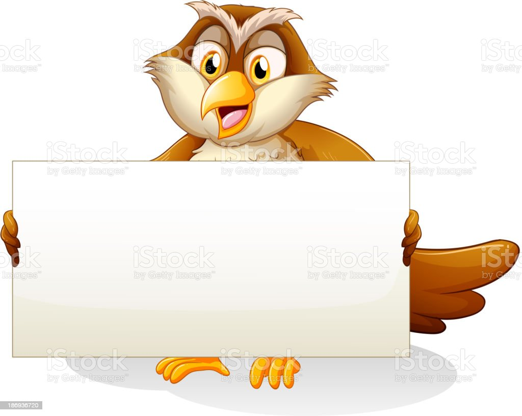 owl holding an empty signboard royalty-free stock vector art