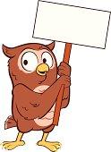 An owl cartoon holding a placard