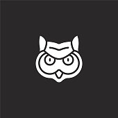 owl icon. Filled owl icon for website design and mobile, app development. owl icon from filled animal avatars collection isolated on black background.