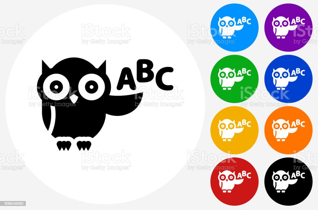 ABC Owl Icon on Flat Color Circle Buttons