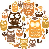 A set of cute retro style owls. See below for a repeat pattern version of this file.