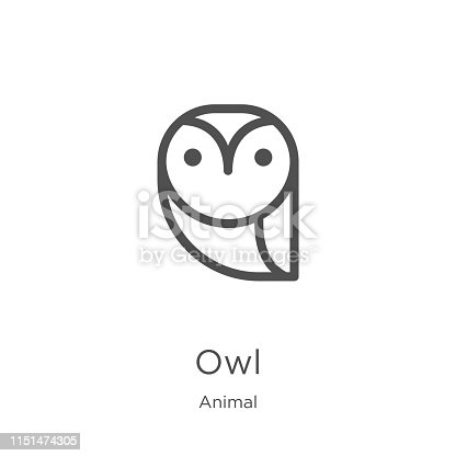 owl icon. Element of animal collection for mobile concept and web apps icon. Outline, thin line owl icon for website design and mobile, app development