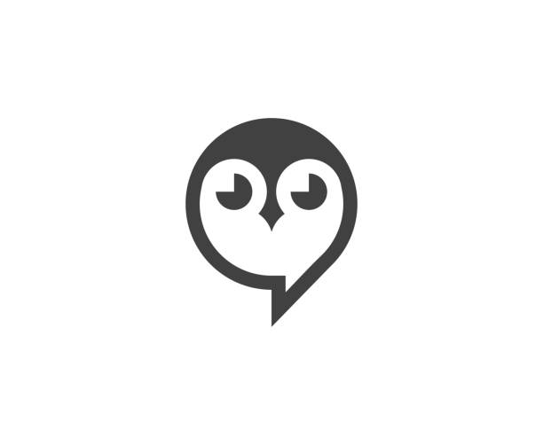 owl icon - sowa stock illustrations