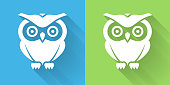 istock Owl Icon with Long Shadow 1093853528