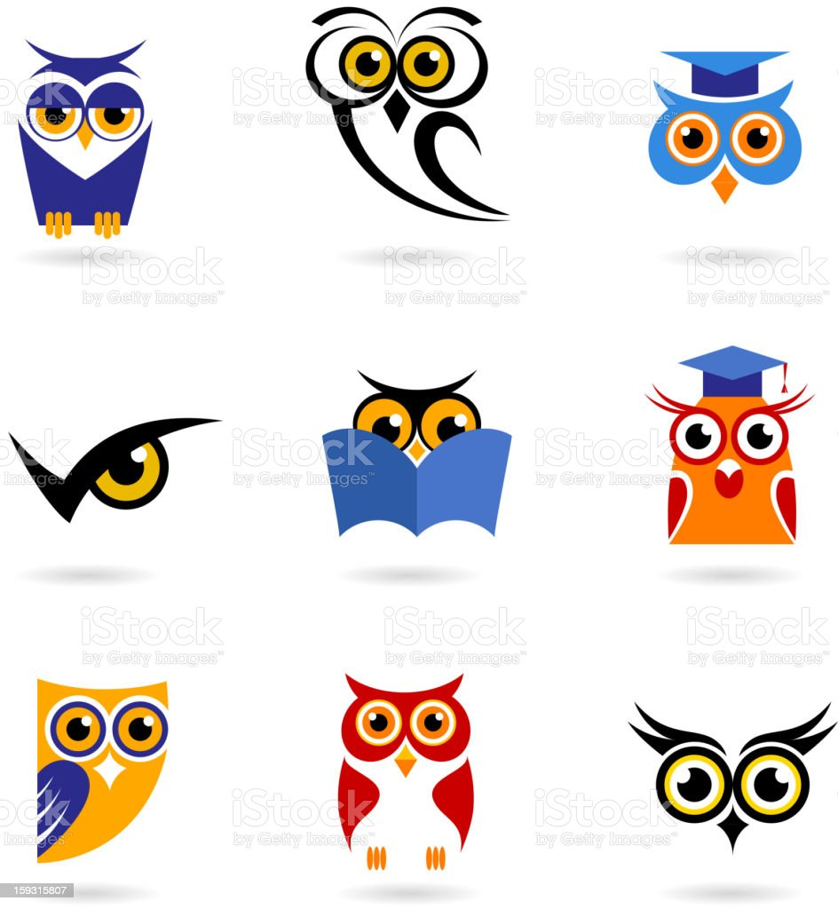 Owl icons - education vector art illustration