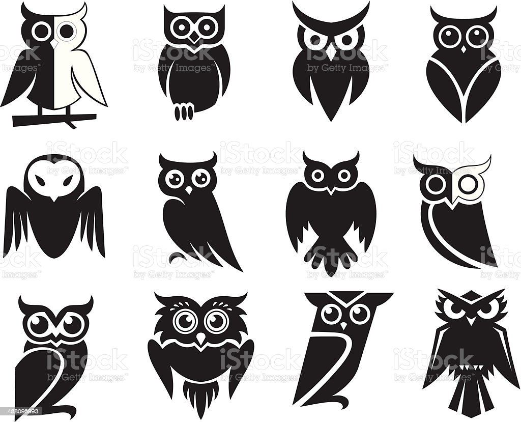 Owl Icons vector art illustration