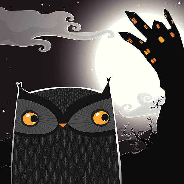 Owl in a Halloween night vector art illustration