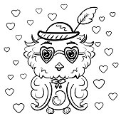 Owl in a hat with a feather and glasses in the shape of hearts. Coloring for children and adults. Valentine's Day. Feast of Love. Vector illustration. - Vector
