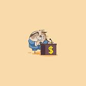 Vector isolated Emoji character cartoon wealth riches business suit owl eagle-owl Owlet Howlet sticker emoticon training presentation orator speaker behind podium money profit dollar earning.