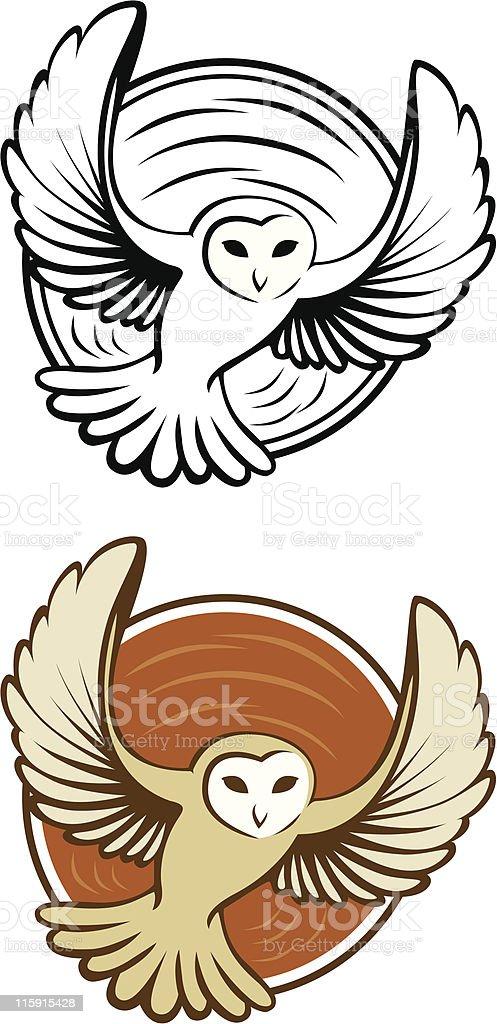 Owl in Circle向量藝術插圖