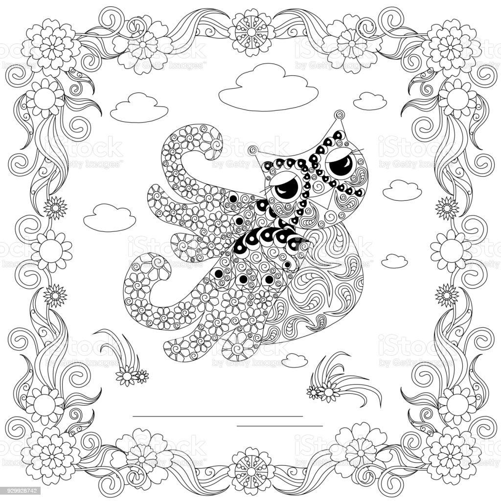 Eule In Blume Rahmen Monochrome Skizze Färbung Seite Antistress ...