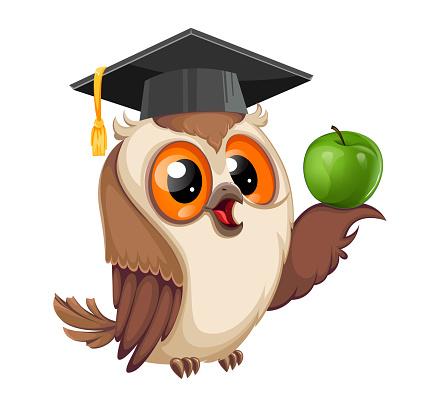 Owl in graduation cap. Back to school