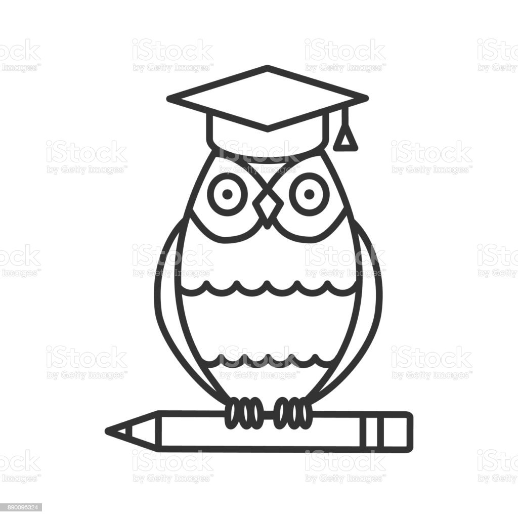 Buho en casquillo de la graduación en el icono de lápiz - ilustración de arte vectorial