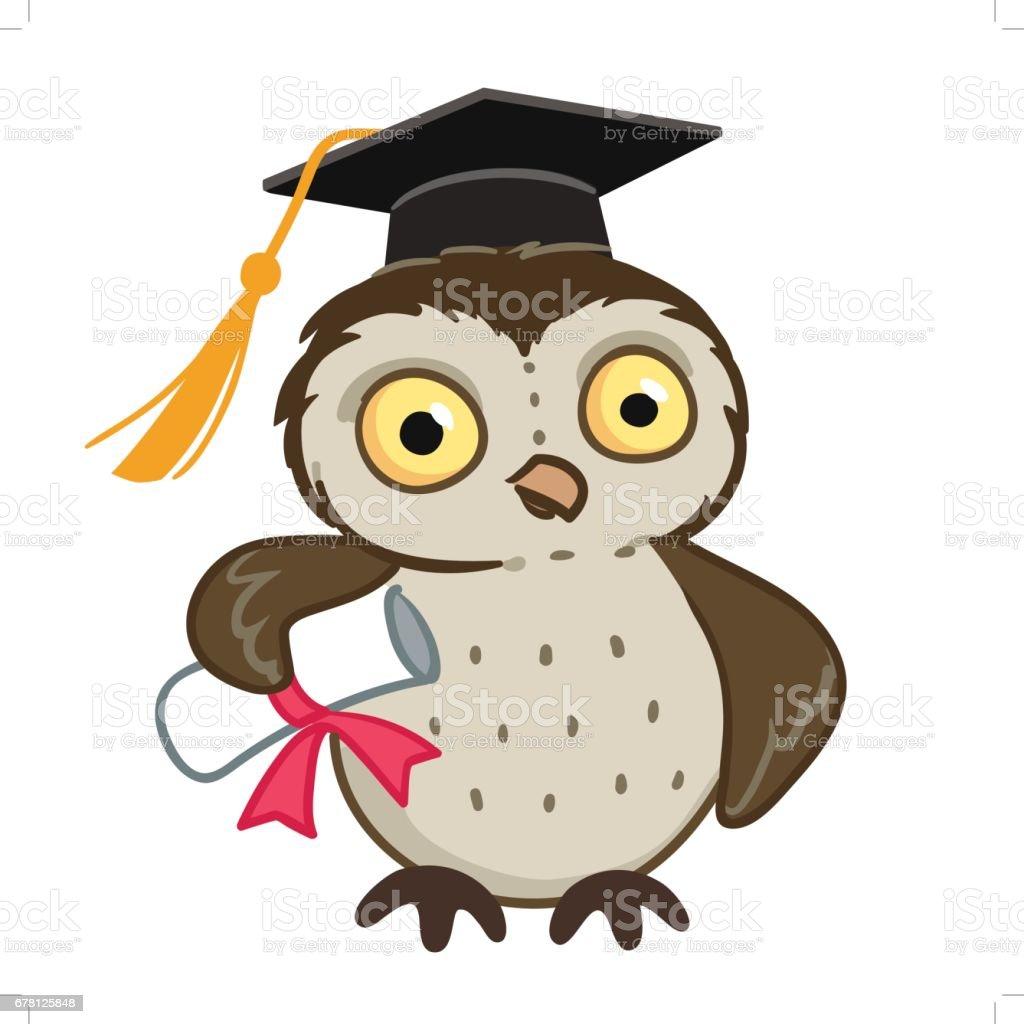 Owl in graduation cap - ilustración de arte vectorial