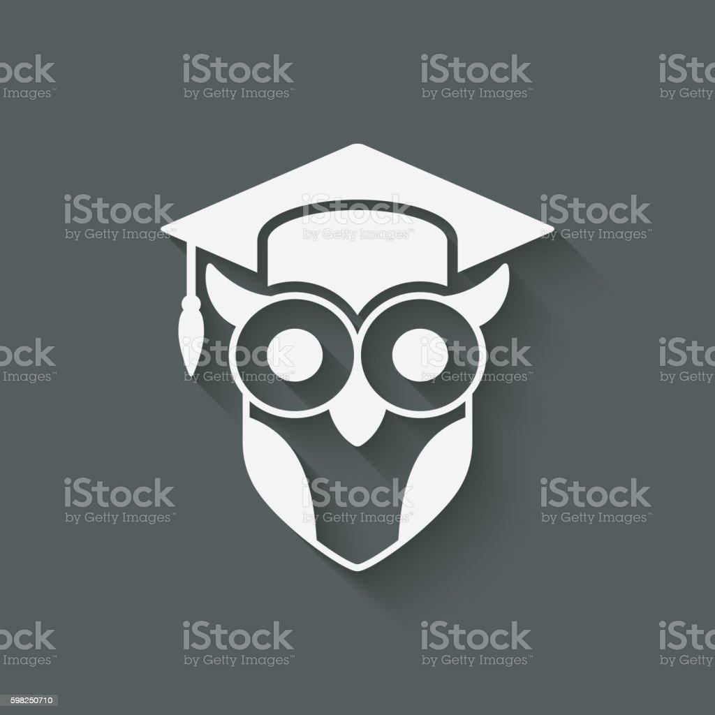 owl in graduation cap. wisdom symbol vector art illustration