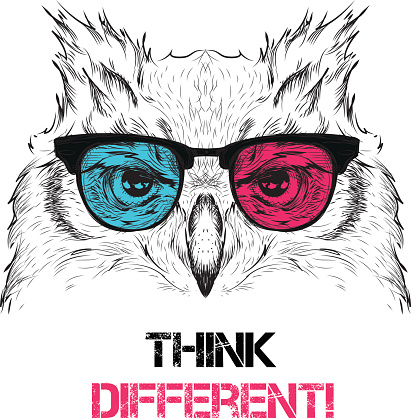 Owl in the colored glasses. Vector illustration.