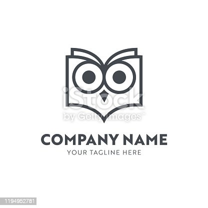 Owl in the Shape of a Book Emblem for Publishing House, Book Store, e-Reader or Learning Academy