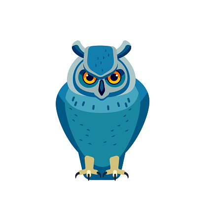 Owl is a bird of prey, mainly nocturnal birds. Eagle horned owl Cartoon flat style beautiful character of ornithology, vector illustration isolated on white background