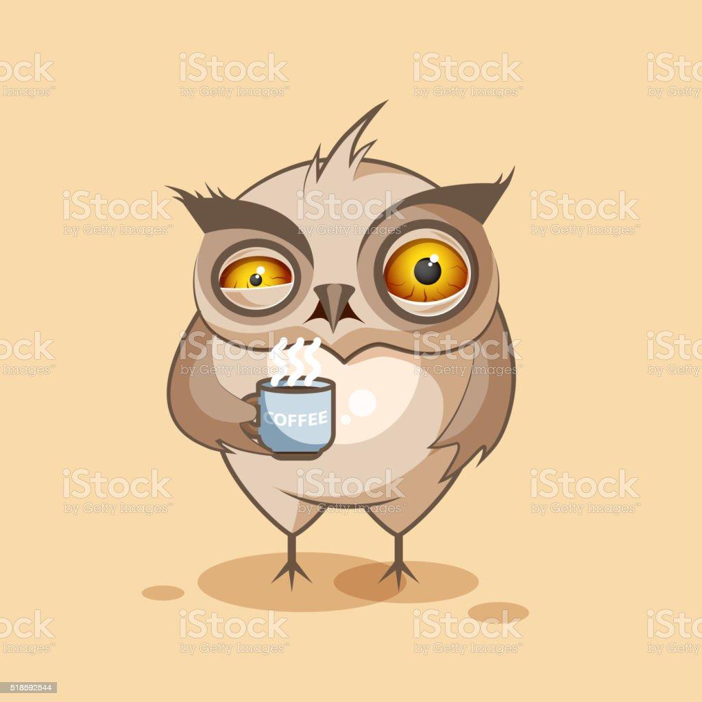 Owl is nervous vector art illustration