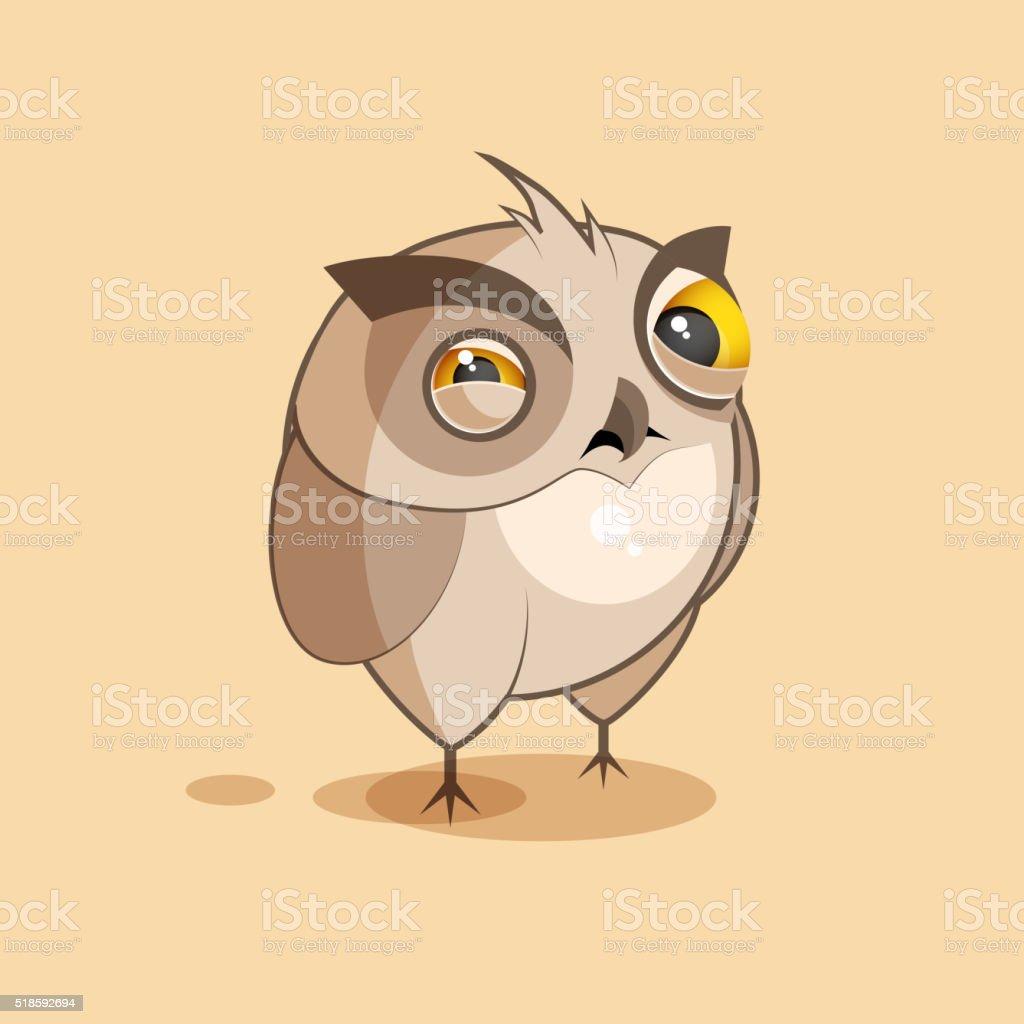 Owl is squints vector art illustration