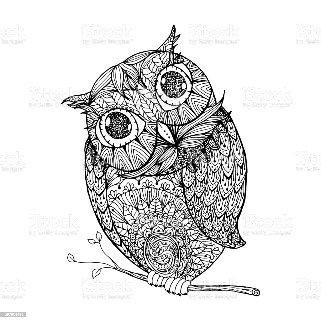 Owl Isolated Illustration With Ornanets Fill For Adult