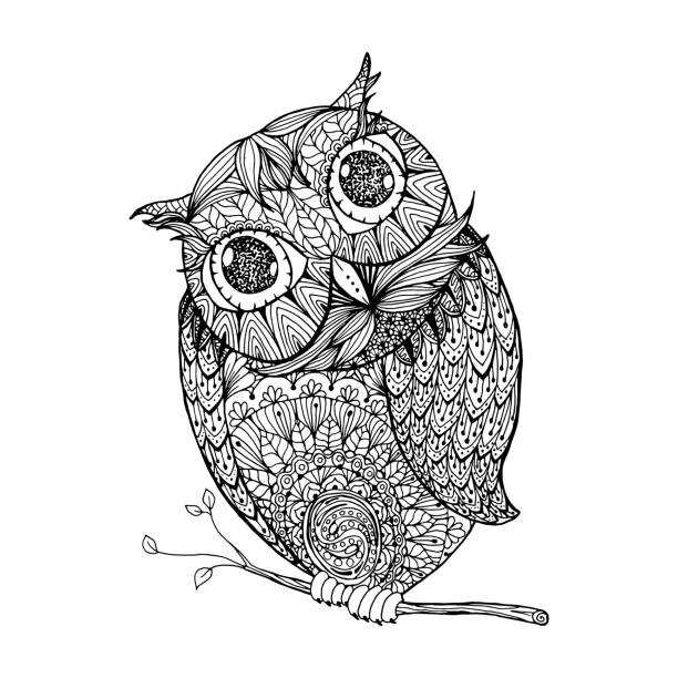 owl. isolated illustration with ornanets fill for adult - black and white owl stock illustrations, clip art, cartoons, & icons