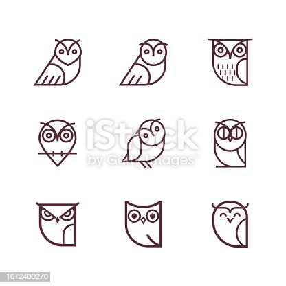 Set of outline owls and emblems design elements for schools, educational signs.