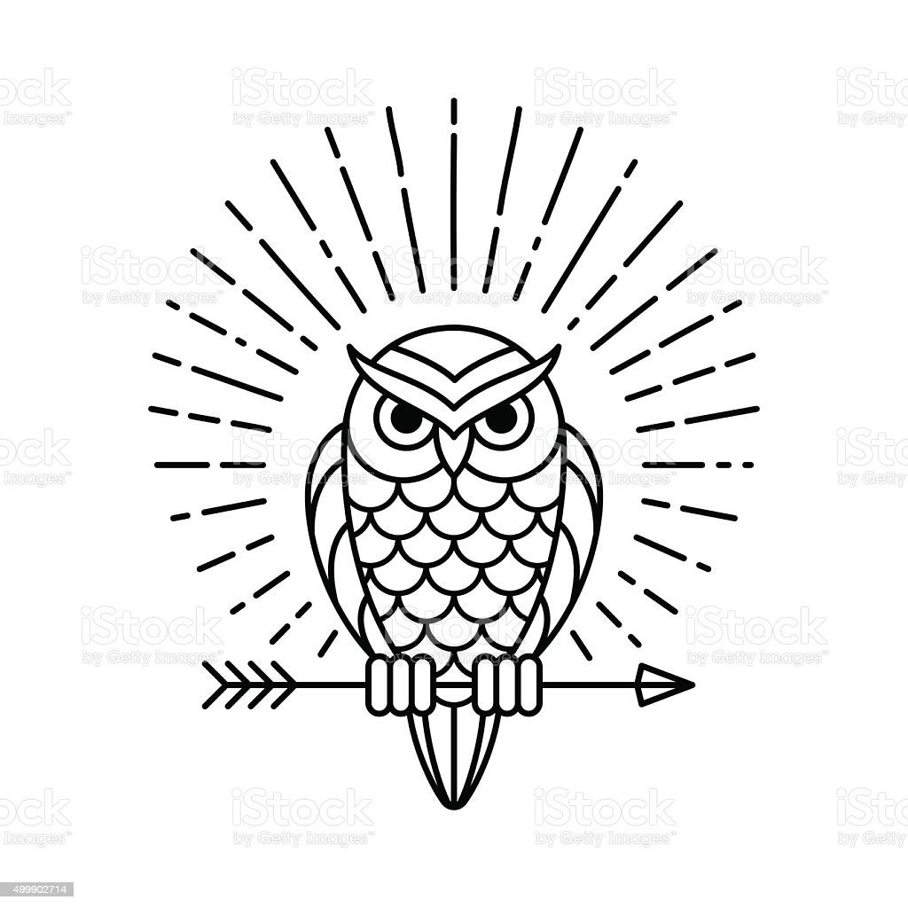 Owl line icon vector art illustration